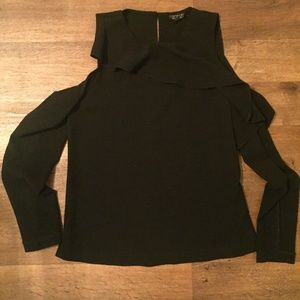 TopShop Cold Shoulder Long Sleeve with Ruffle Sz 4